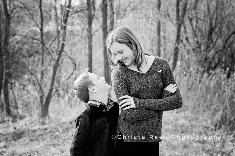 Kid's Christmas Portraits in the woods in Victoria, Minnesota