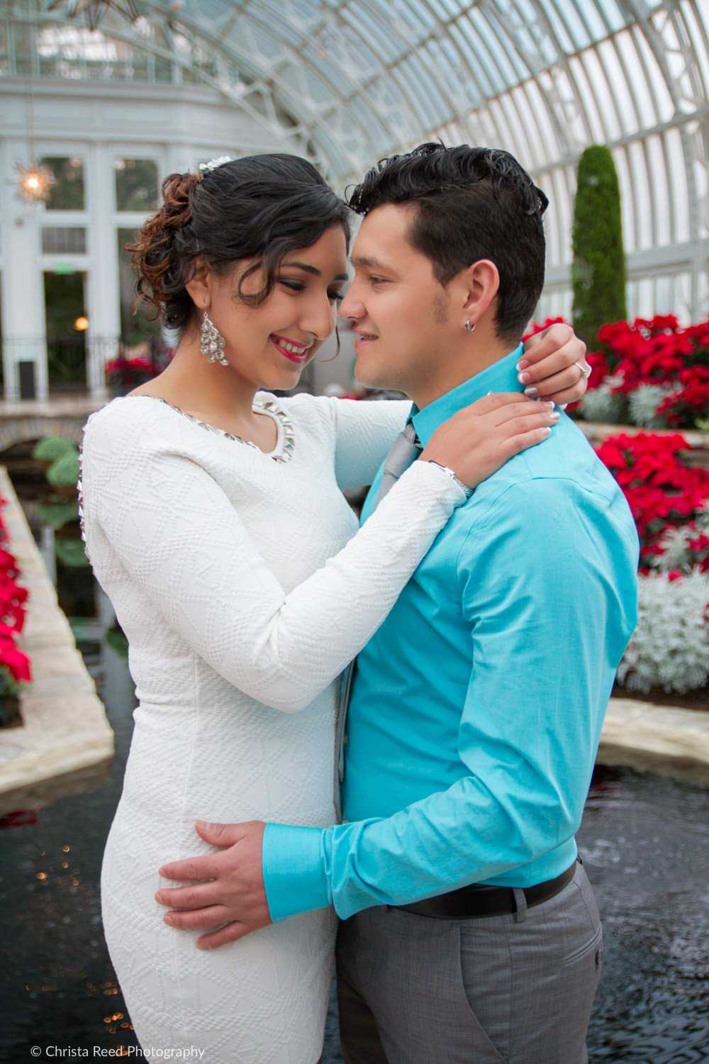 a couples poses for romantic wedding photography at como conservatory
