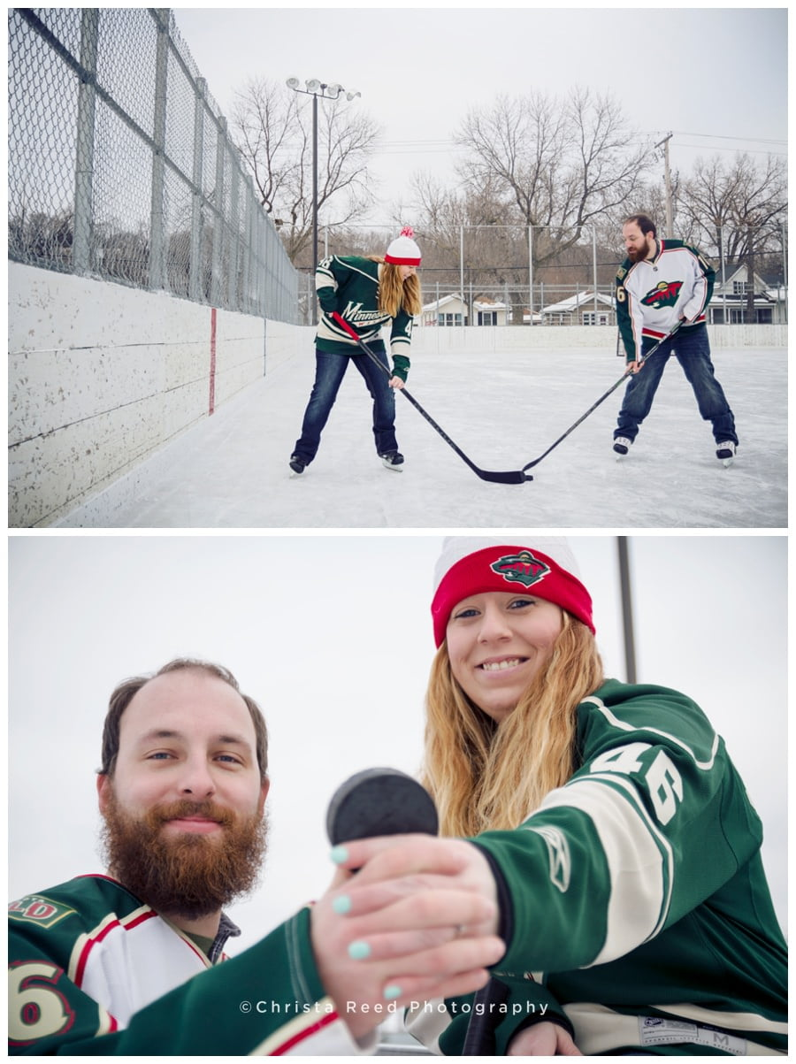 St. Paul Hockey Engagement Shoot on An Ice Rink