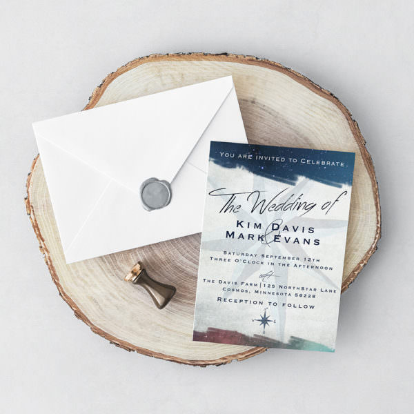 Minnesota Wedding Invitation Design | Watercolor Compass Wedding Invitation
