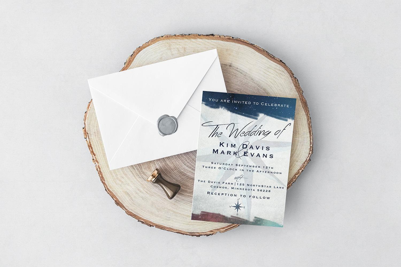 Minnesota wedding invitation design with northern lights theme.