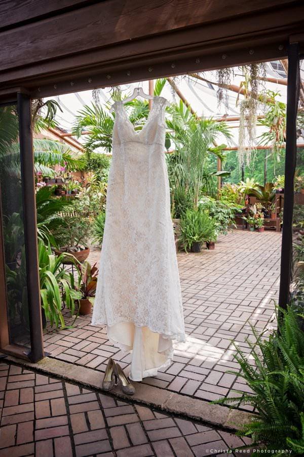 wedding dress in the Minnesota landscape arboretum indoor garden