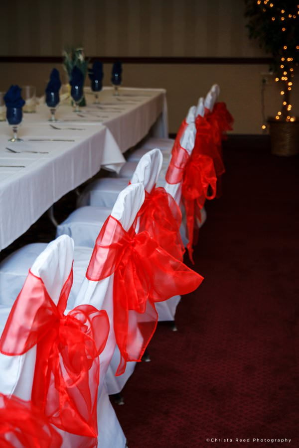 red white and blue reception at the grand palms chaska wedding photography