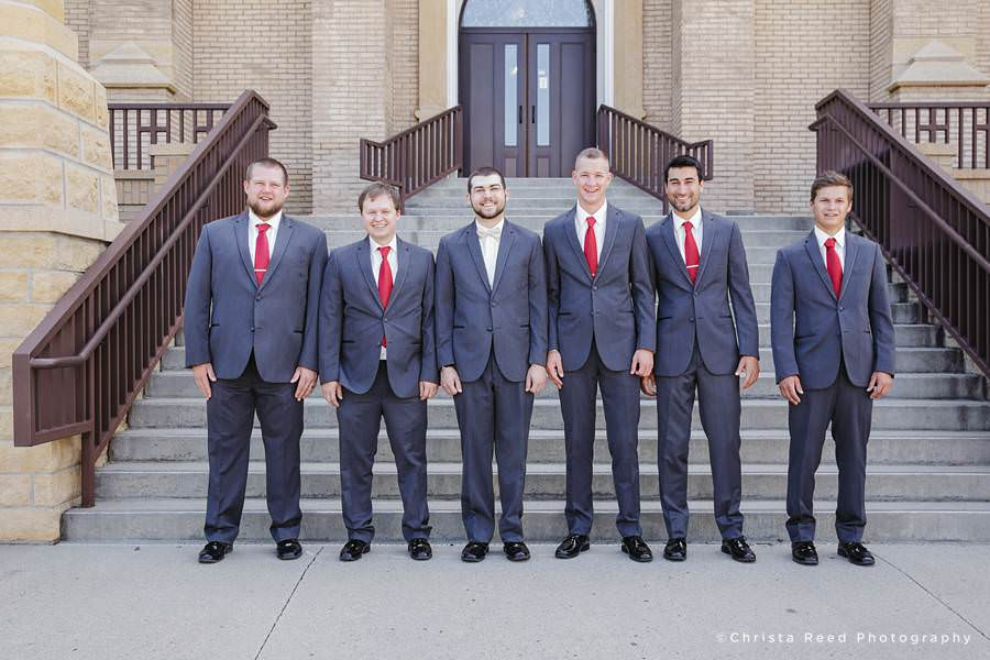 grey suits with red ties groomsmen mankato