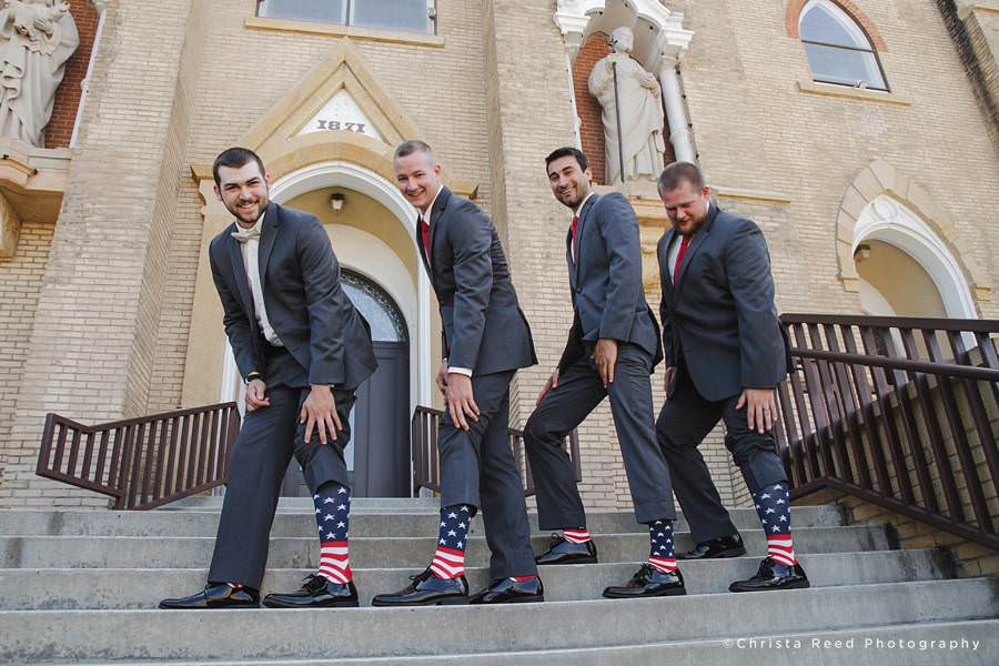 fourth of July American flag socks on the groomsmen in mankato