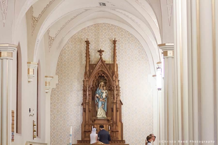 mary altar at mankato catholic wedding
