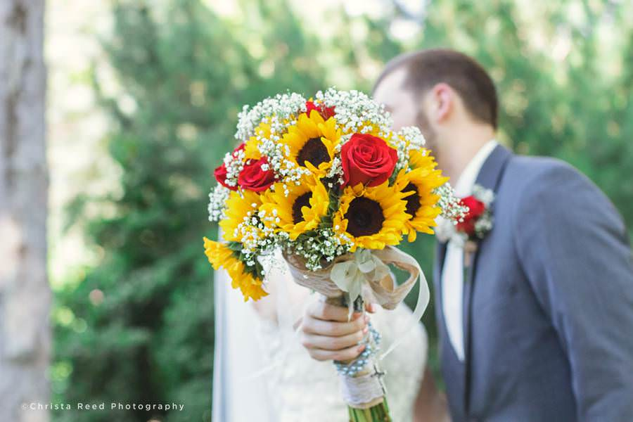 sunflowers and roses yellow and red wedding bouquet