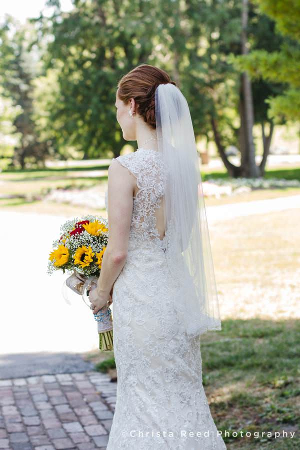bridal portrait with veil and back of lace dress sibley park