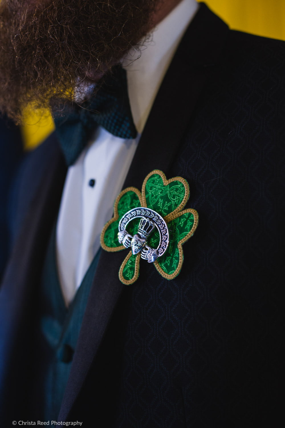 Claddaugh lapel decoration for Irish wedding in mankato