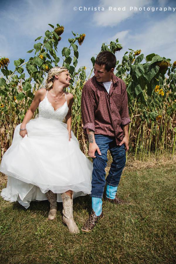 matching cowboy boots for a minnesota farm wedding