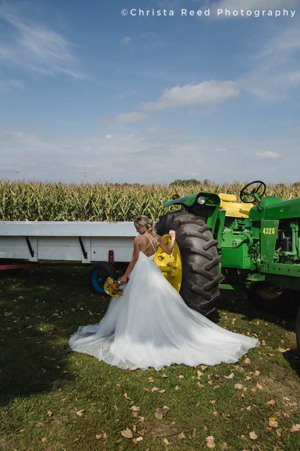tractor bridal wedding photography