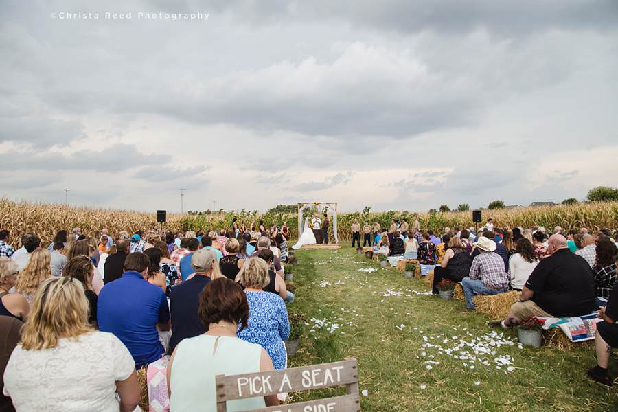 cornfield wedding ceremony at a farm in minnesota