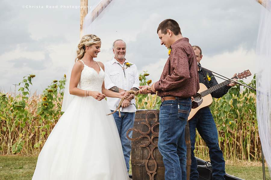 tie a knot for farm wedding ceremony