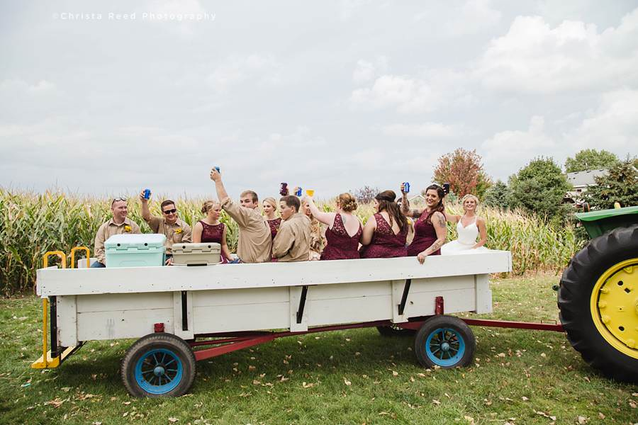tractor ride for a farm wedding