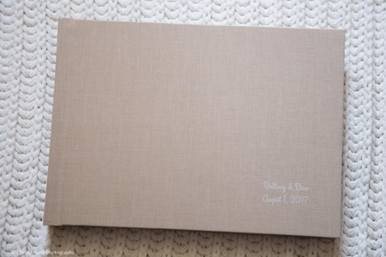 tan linen wedding album with st paul wedding photography