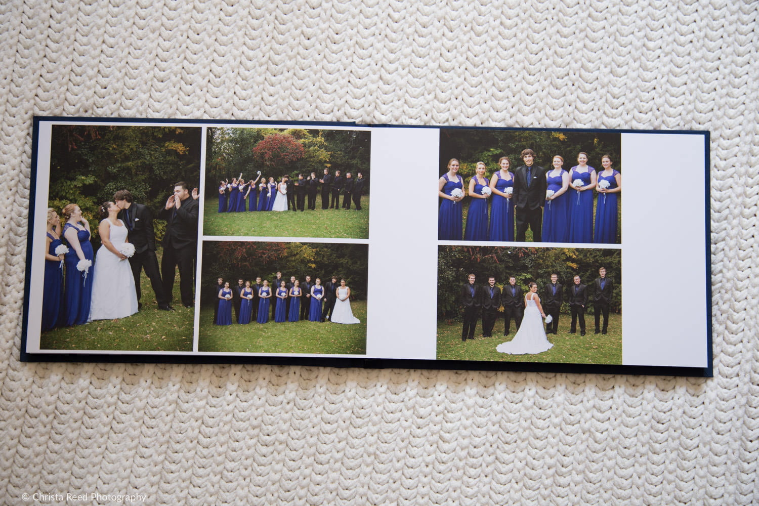 wedding album spread from a fall wedding by a chaska MN wedding photographer