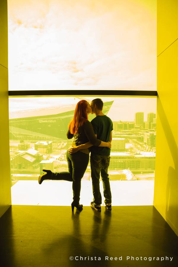a scenic view of US Bank stadium for a couple's Guthrie Theatre Engagement pictures