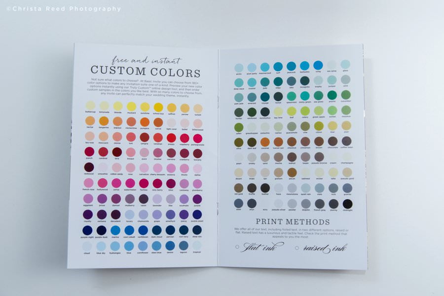 Print color options available for your wedding invitation design
