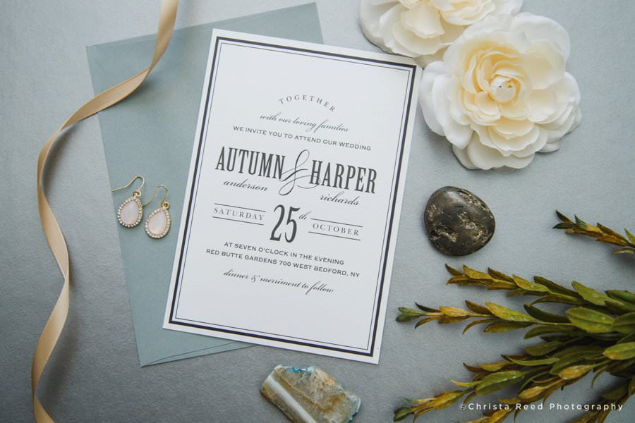 black and white elegant vintage wedding invitation design