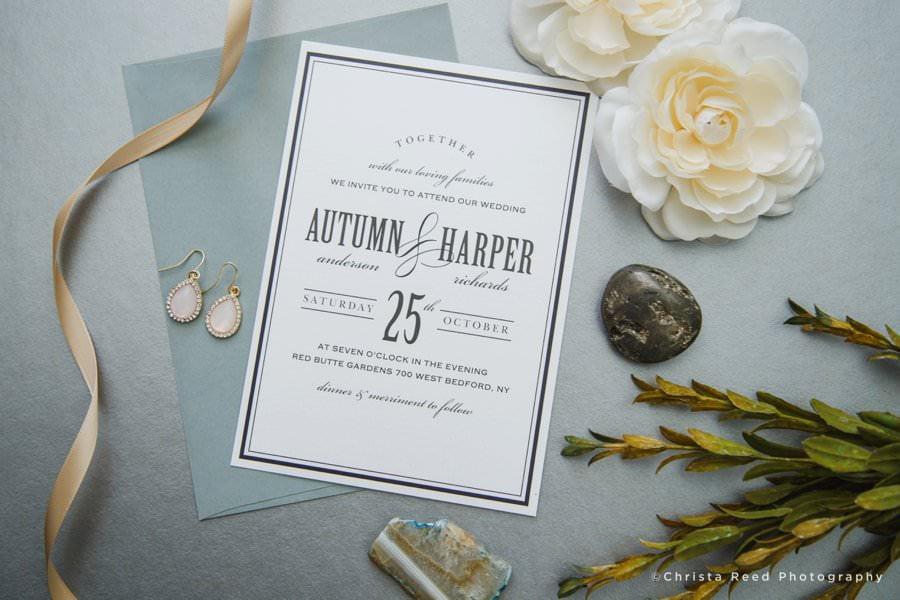 black and white elegant vintage wedding invitation design