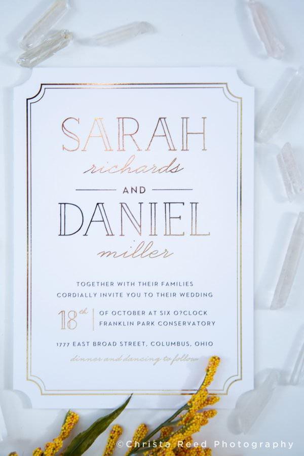 wedding invitation design white invitation with gold foil