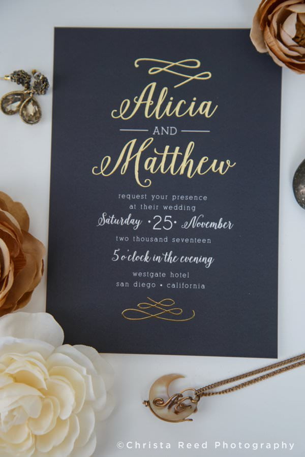 wedding stationery with gold foil and calligraphy whimsical wedding invitation design