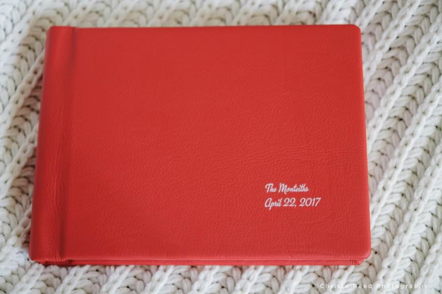 leather wedding albums in red