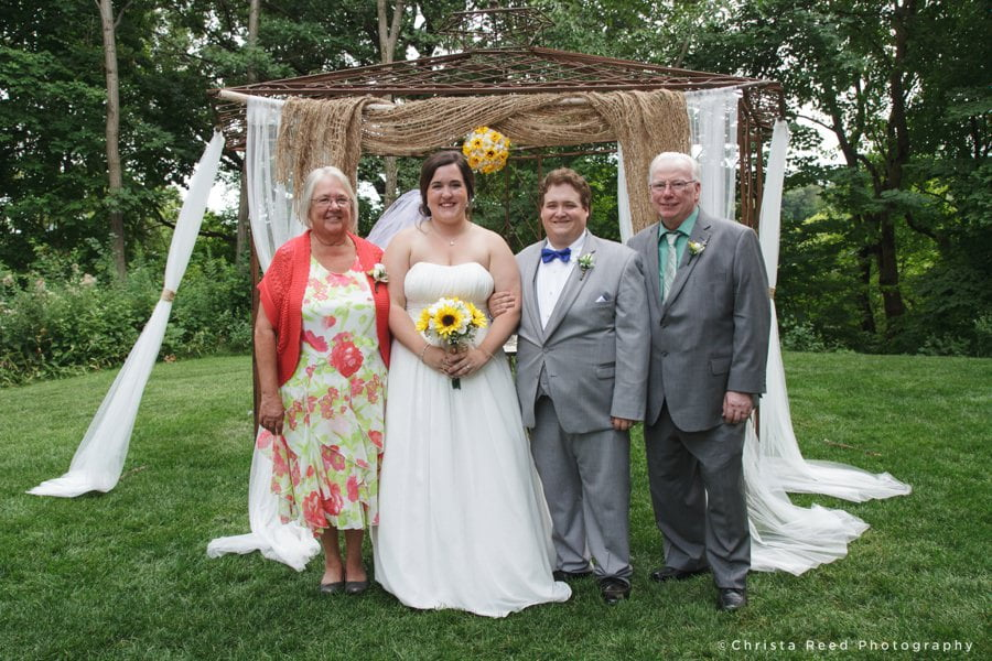 Outdoor Family Portraits After The Ceremony for a Chanhassen Dinner Theatre Wedding