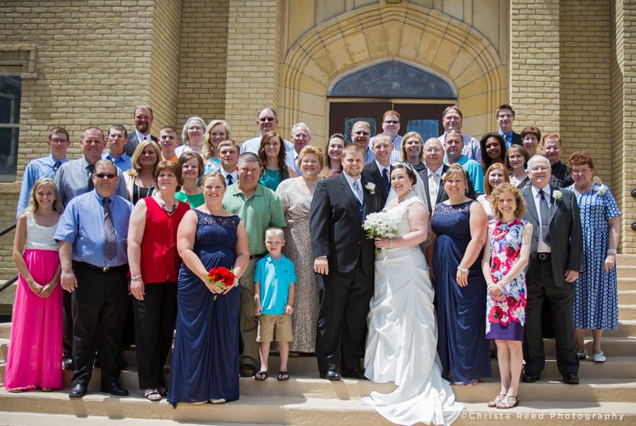 Large Family Group Portrait at St. John's Church in Belle Plaine, MN.
