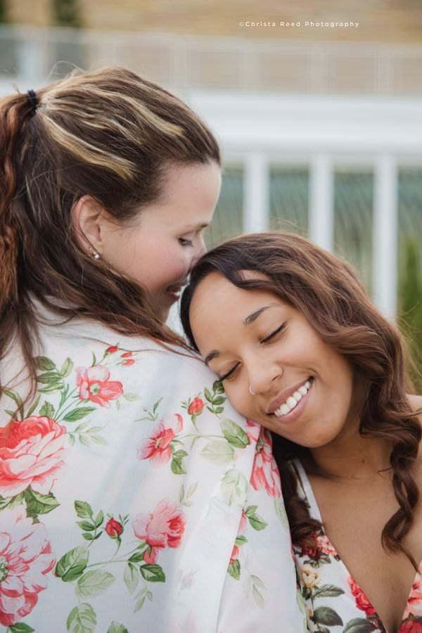lesbian engagement shoot como conservatory