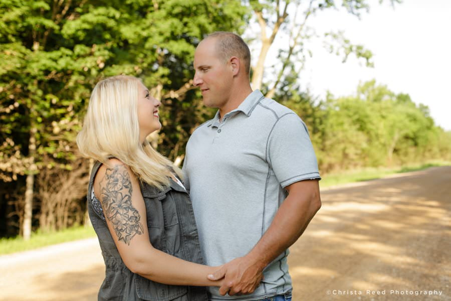 a dirt road belle plaine engagement picture