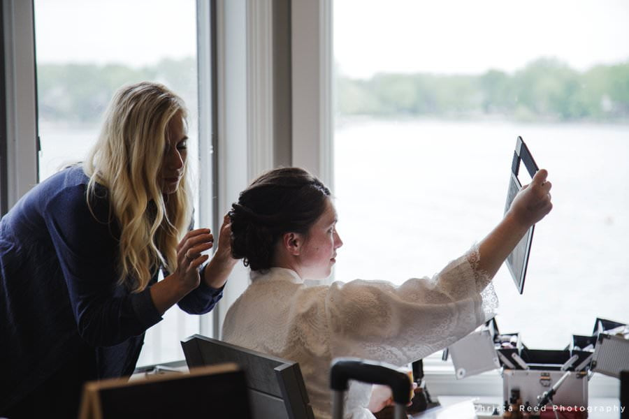 a bride getting ready for her wedding in Prior Lake