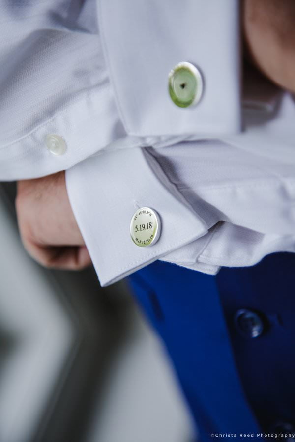 cufflinks with gps coordiantes and wedding date for a shakopee wedding