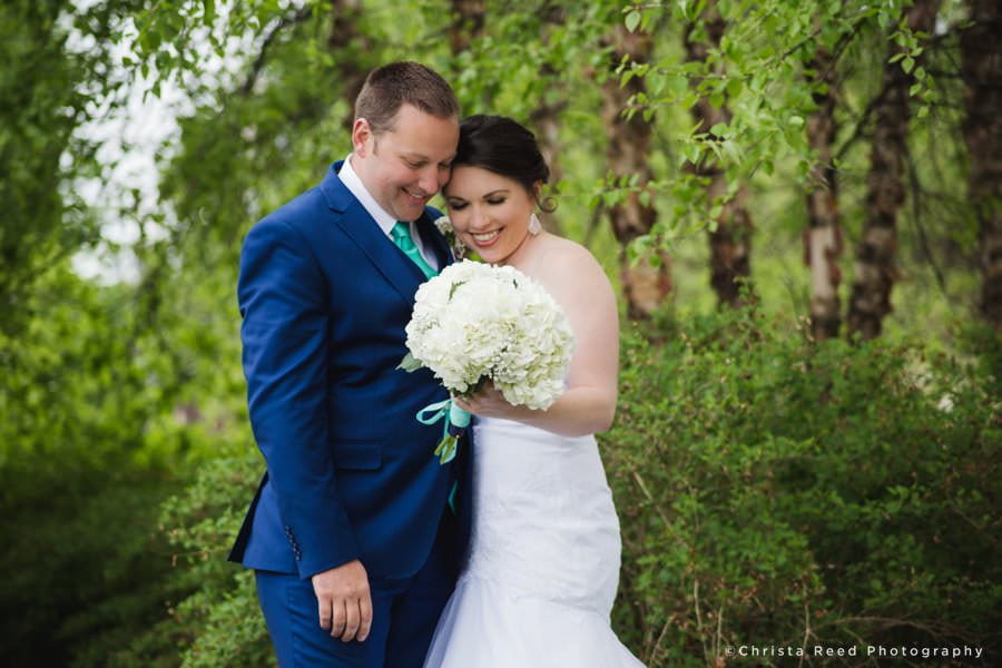 portrait of a couple at their outdoor wedding by shakopee minnesota wedding photographer