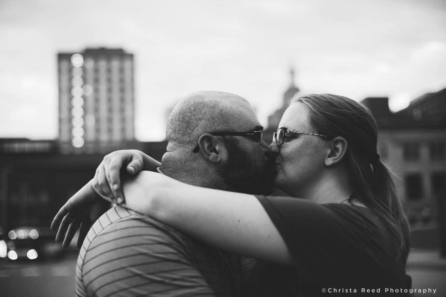 black and white saint paul engagement photos
