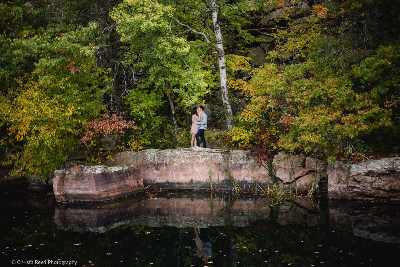 romantic and scenic St. Cloud Quarry Park engagement photography