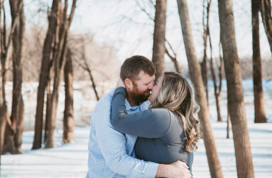 romantic winter engagement shoot in carver mn
