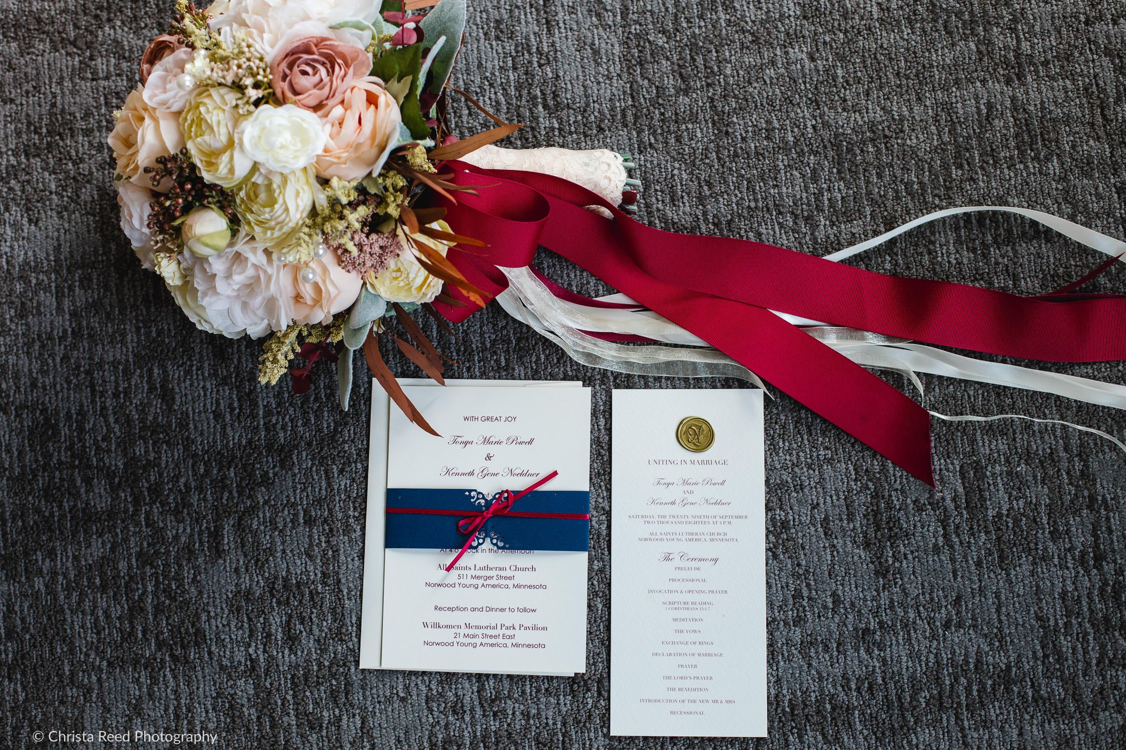 navy and burgandy invitation for a Norwood Young America wedding