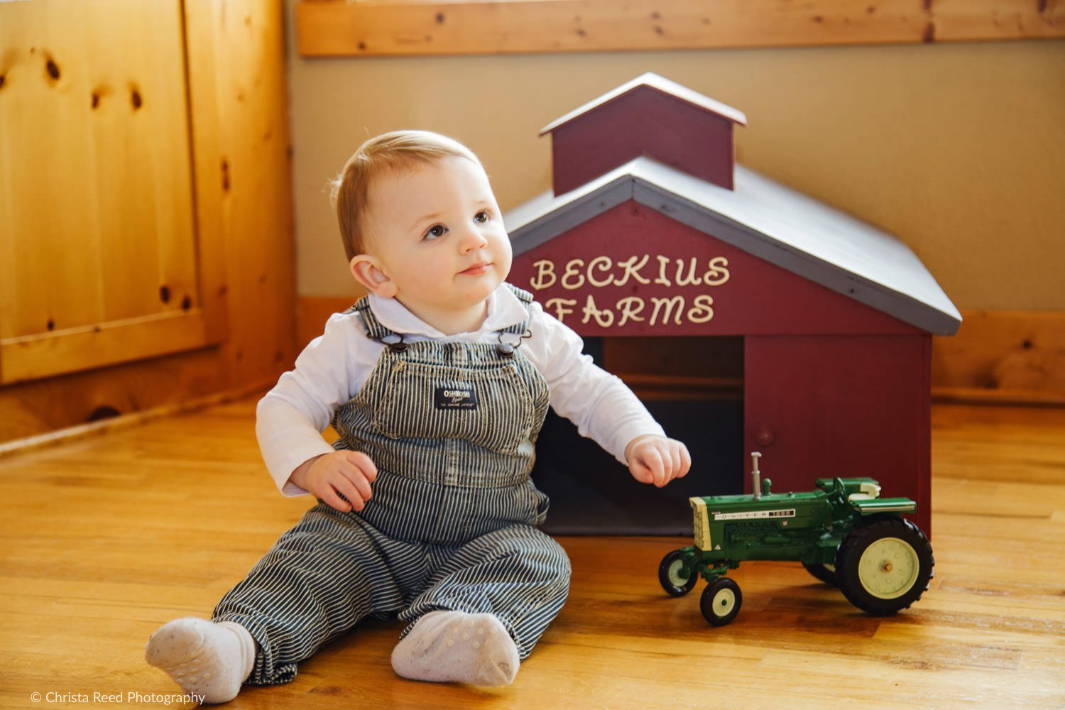 first birthday photoshoot with a tractor on the farm
