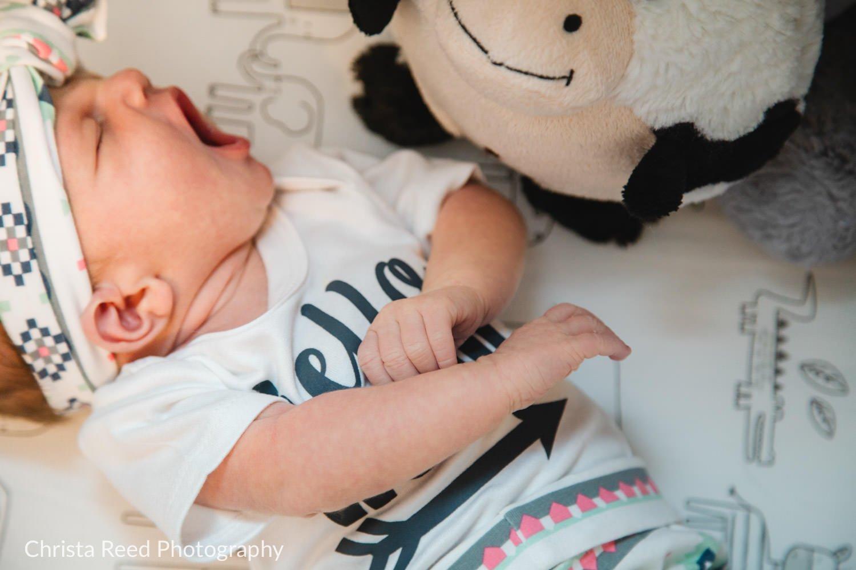 yawning newborn portraits in le sueur minnesota