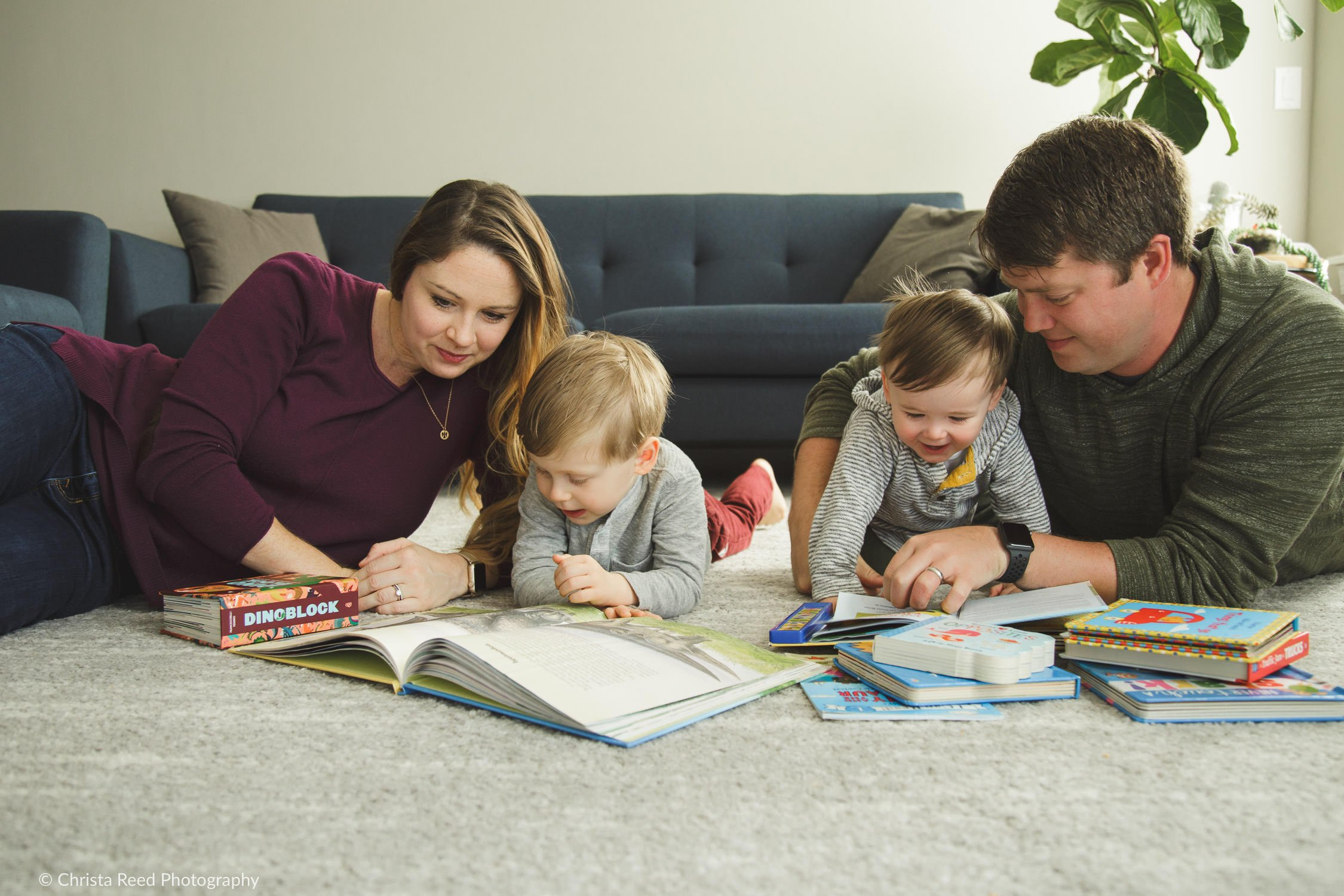 reading at home for lifestyle family photography in Waconia