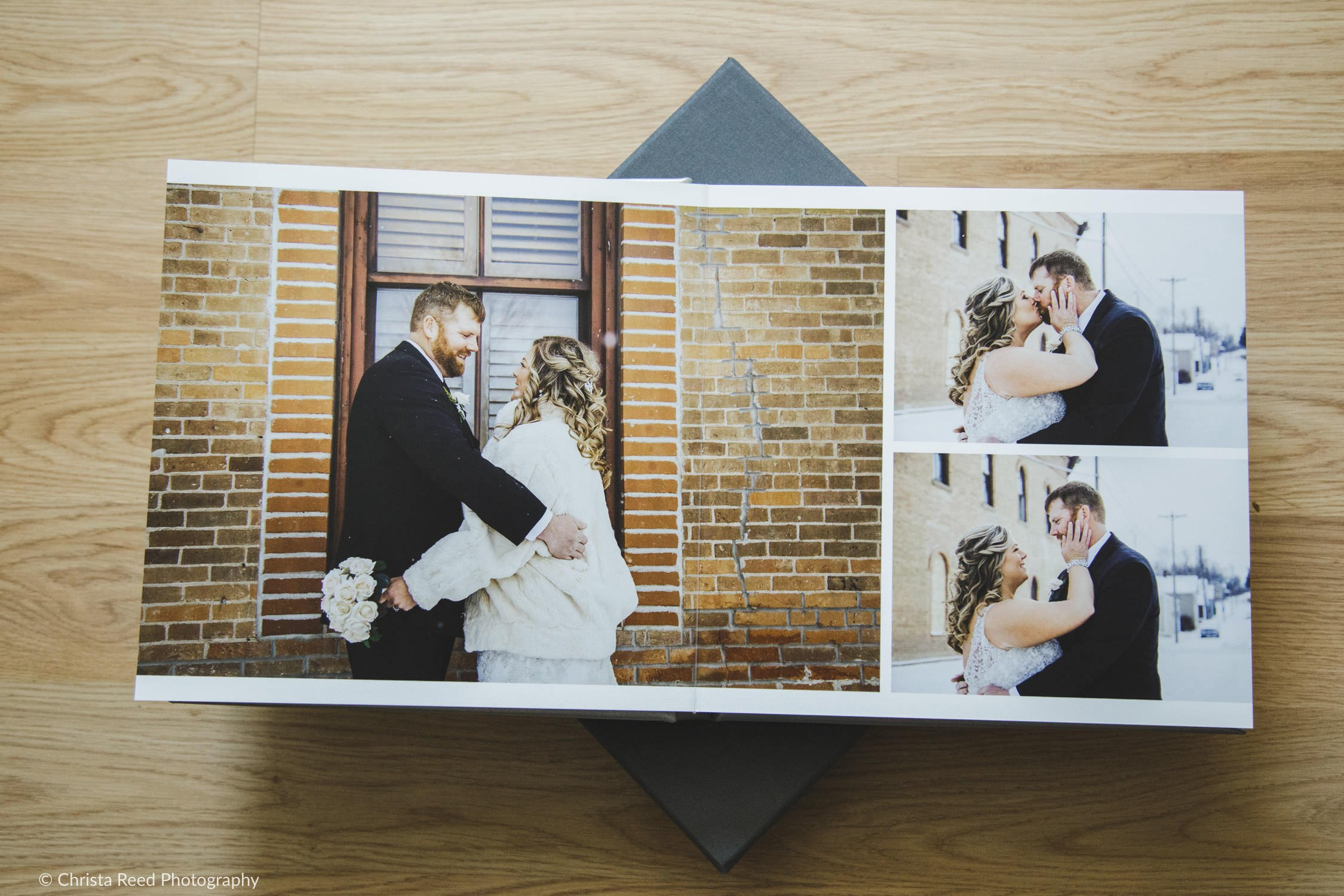 professional leather wedding album from a Henderson Minnesota Wedding