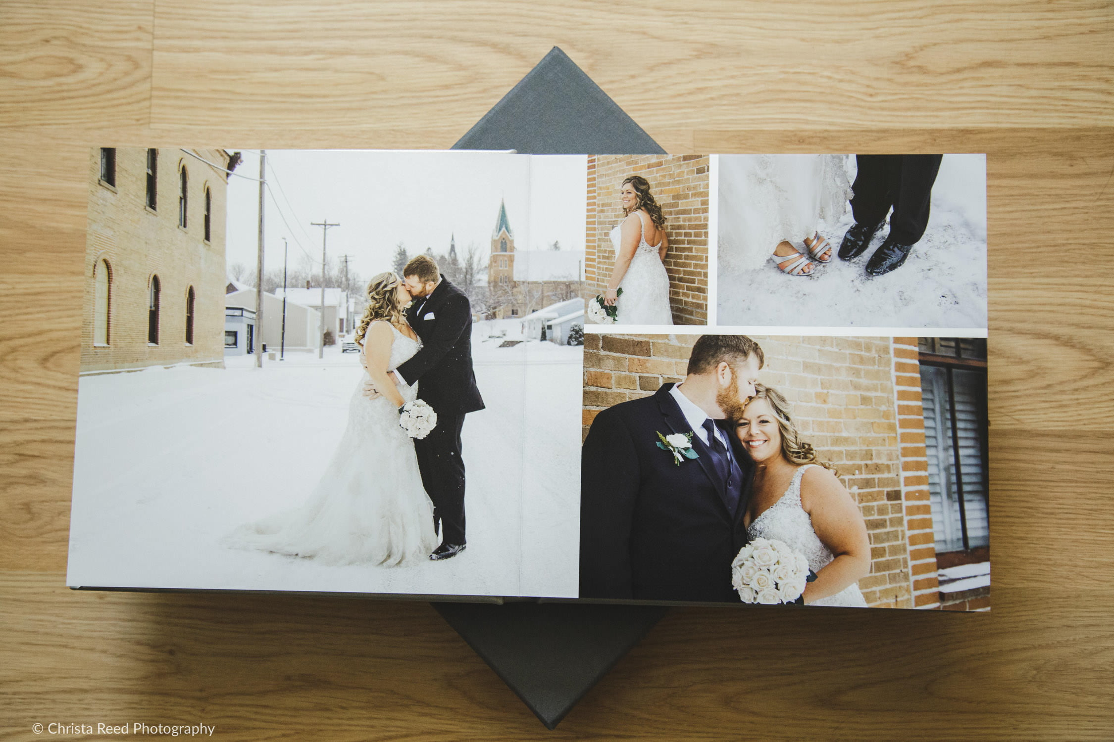 leather wedding album from a professional photographer in Minnesota