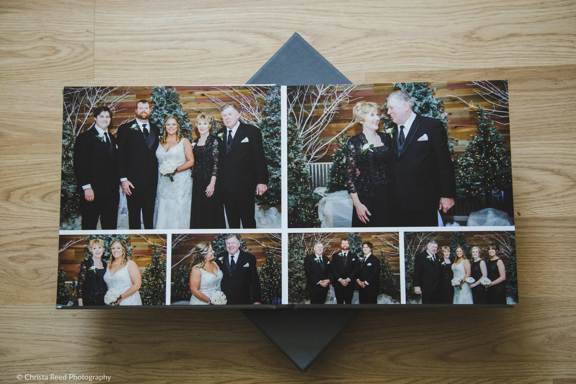 family pictures in a leather wedding album