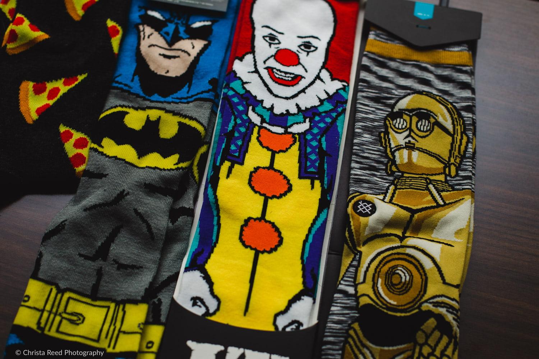 fun wedding socks including batman and c3p0