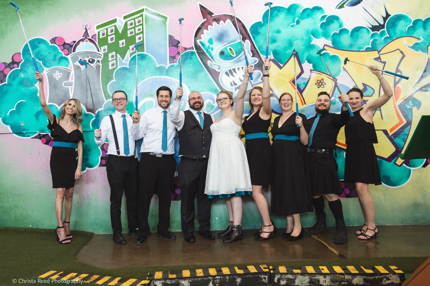 wedding party at can can wonderland