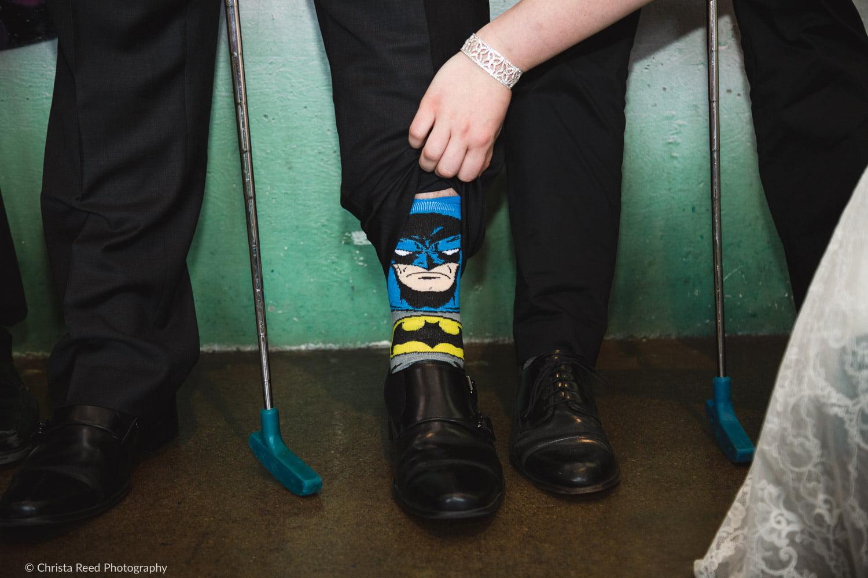 wearing batman socks at your wedding
