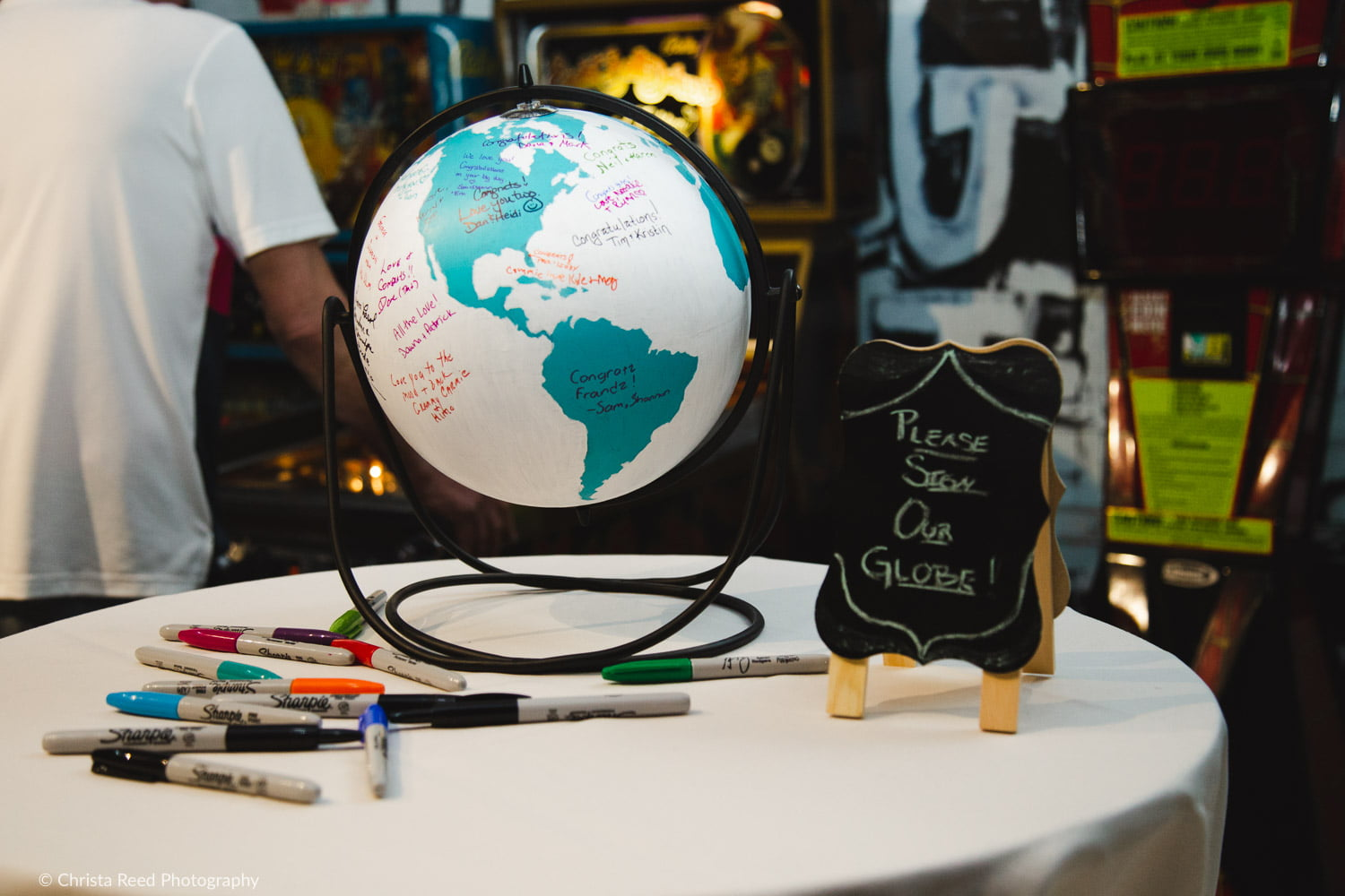 paint a globe for your wedding guest book