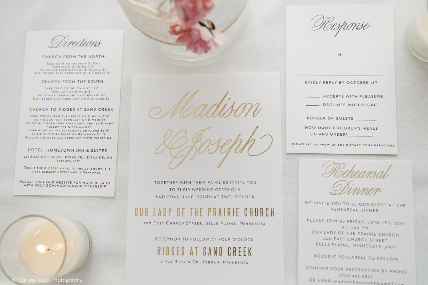 classic invitation suite for a catholic wedding
