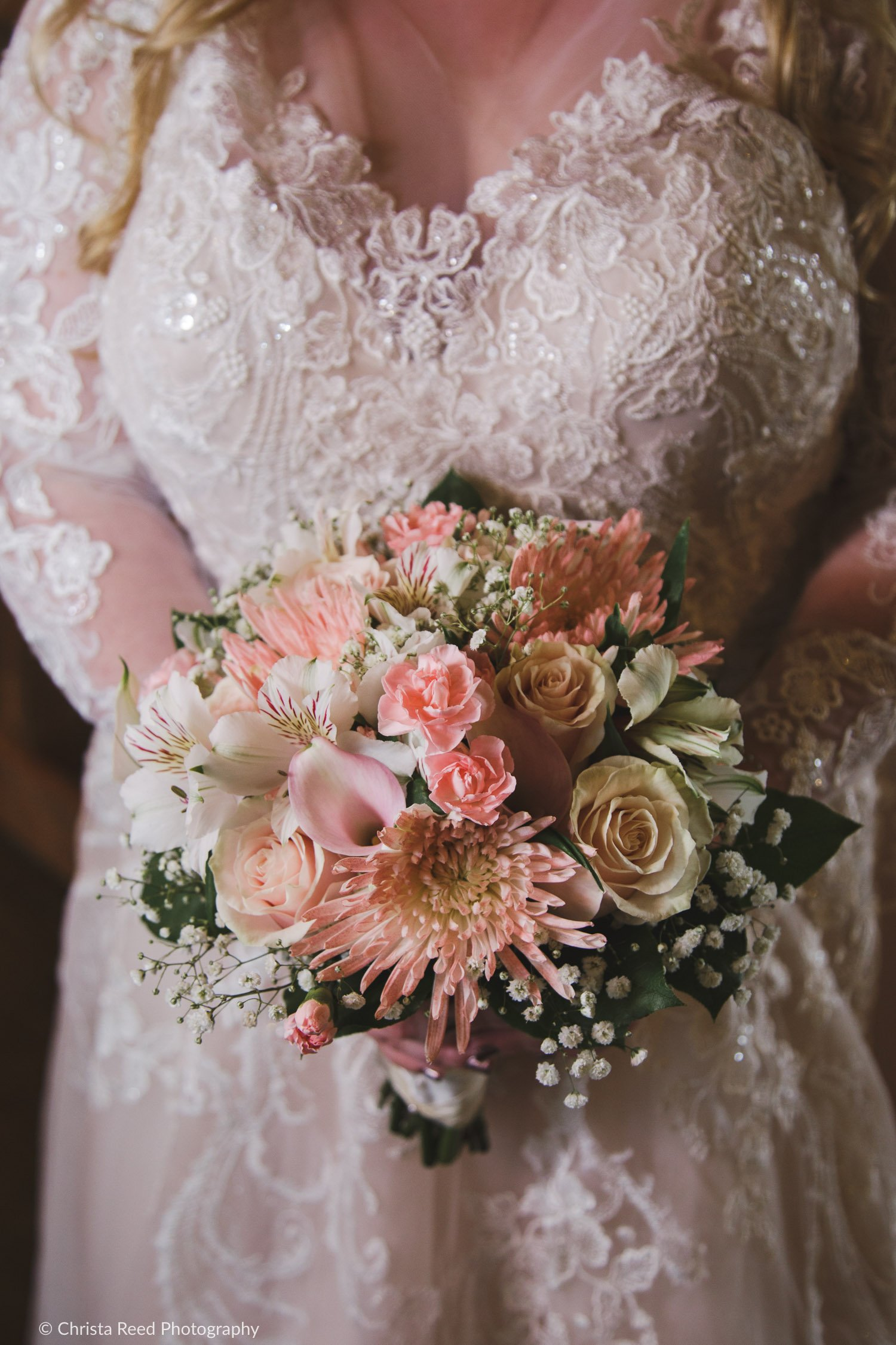 wedding bouquet with pink spider mums pink cala lilies roses and white alstroemeria